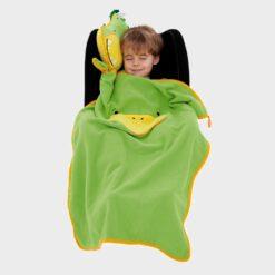 μαξιλάρι και κουβέρτα φλισ για το ταξίδι πράσινος δινόσαυρος