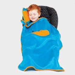 μαξιλράκι και κουβέρτα φλις για το κάθισμα αυτοκινήτου μπλε αρκουδάκι