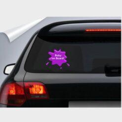 αυτοκόλλητο για το αυτοκίνητο μωβ baby on board splash