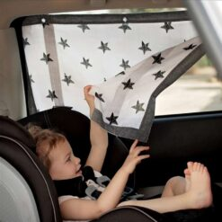 κουρτινάκι για προστασία από τον ήλιο για το παράθυρο του αυτοκινήτου λευκό με μαύρα αστεράκια