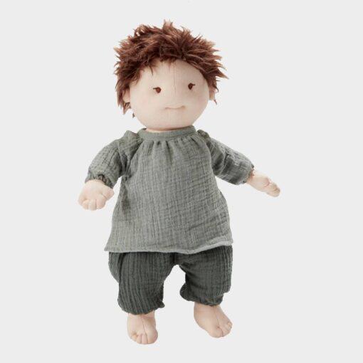 πάνινη κούκλα αγοράκι από οργανικό βαμβάκι με γκρι παντελόνι και μπλούζα 42cm