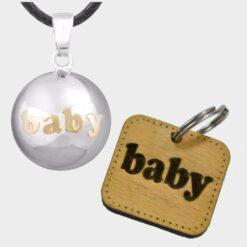 Μουσικό Μενταγιόν Εγκυμοσύνης Ασημί Baby & Δώρο Μπρελόκ Baby Κίτρινο