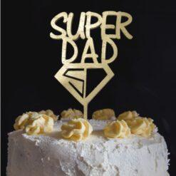 Ξύλινο Τόπερ για Τούρτα Super Dad